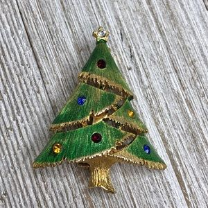 Vintage JJ Christmas Holiday Tree Rhinestone Tree